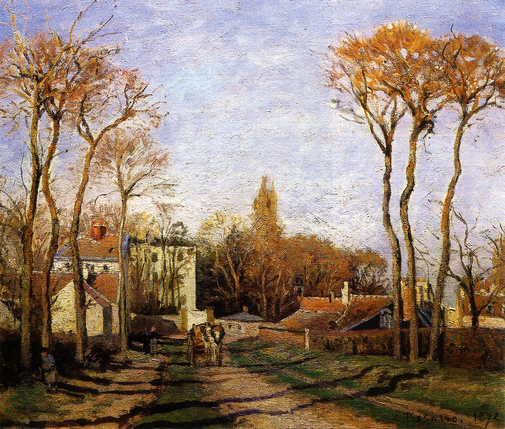 The Entrance to the Village of Voisins, 1872 by Camille Pissarro